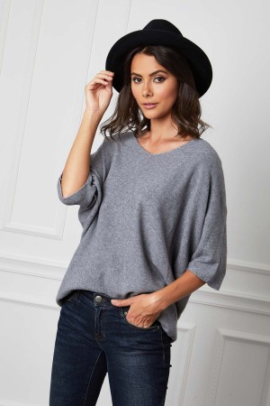 Pull manches mi longues base cachemire