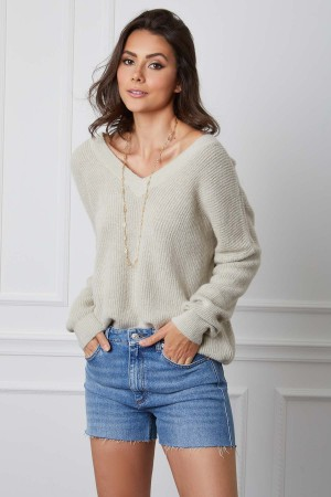 Pull large encolure V base cachemire