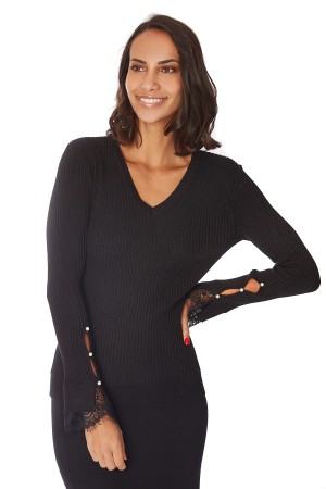 Pull bouton perle