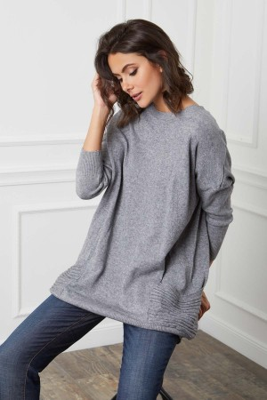 Pull long deux poches base cachemire